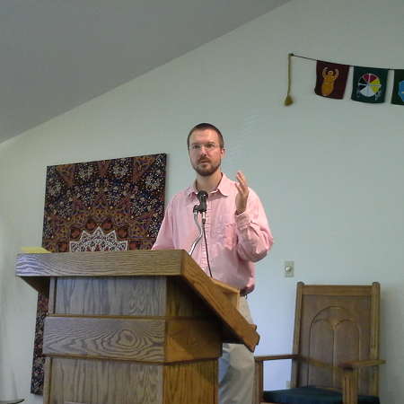 Eric Stetson preaching at UUCH